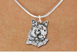 <bR>                  EXCLUSIVELY OURS!!<Br>            AN ALLAN ROBIN DESIGN!!<BR>   CLICK HERE TO SEE 1000+ EXCITING<BR>      CHANGES THAT YOU CAN MAKE!<BR>     LEAD, NICKEL & CADMIUM FREE!!<BR>W1354SN - DETAILED COUGAR WITH <BR> CLEAR CRYSTALS CHARM NECKLACE <BR>         FROM $5.55 TO $9.00 �2012