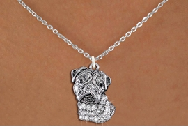 <bR>                  EXCLUSIVELY OURS!!<Br>            AN ALLAN ROBIN DESIGN!!<BR>   CLICK HERE TO SEE 1000+ EXCITING<BR>      CHANGES THAT YOU CAN MAKE!<BR>     LEAD, NICKEL & CADMIUM FREE!!<BR>W1356SN - DETAILED BULLDOG HEAD <BR>WITH CLEAR CRYSTALS CHARM NECKLACE <BR>         FROM $5.55 TO $9.00 �2012