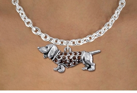 <bR>                  EXCLUSIVELY OURS!!<Br>            AN ALLAN ROBIN DESIGN!!<BR>   CLICK HERE TO SEE 1000+ EXCITING<BR>      CHANGES THAT YOU CAN MAKE!<BR>     LEAD, NICKEL & CADMIUM FREE!!<BR>W1357SN - DETAILED DACHSHUND <BR>WITH TOPAZ CRYSTALS CHARM NECKLACE <BR>         FROM $5.55 TO $9.00 �2012