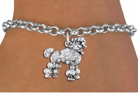 <bR>               EXCLUSIVELY OURS!!<Br>         AN ALLAN ROBIN DESIGN!! <BR>CLICK HERE TO SEE 1000+ EXCITING <BR>   CHANGES THAT YOU CAN MAKE!<BR>   LEAD, NICKEL & CADMIUM FREE!! <BR> W1358SB - DETAILED POODLE <BR> WITH CRYSTALS CHARM & BRACELET <BR>     FROM $5.15 TO $9.00 �2012