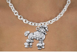 <bR>                  EXCLUSIVELY OURS!!<Br>            AN ALLAN ROBIN DESIGN!!<BR>   CLICK HERE TO SEE 1000+ EXCITING<BR>      CHANGES THAT YOU CAN MAKE!<BR>     LEAD, NICKEL & CADMIUM FREE!!<BR>W1358SN - DETAILED POODLE WITH <BR>CLEAR CRYSTALS CHARM NECKLACE <BR>         FROM $5.55 TO $9.00 �2012
