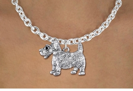 <bR>                  EXCLUSIVELY OURS!!<Br>            AN ALLAN ROBIN DESIGN!!<BR>   CLICK HERE TO SEE 1000+ EXCITING<BR>      CHANGES THAT YOU CAN MAKE!<BR>     LEAD, NICKEL & CADMIUM FREE!!<BR>W1359SN - DETAILED TERRIER WITH <BR>CLEAR CRYSTALS CHARM NECKLACE <BR>         FROM $5.55 TO $9.00 �2012