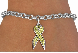 <bR>               EXCLUSIVELY OURS!! <Br>           AN ALLAN ROBIN DESIGN!! <BR>  CLICK HERE TO SEE 1000+ EXCITING <BR>     CHANGES THAT YOU CAN MAKE!<BR>     LEAD, NICKEL & CADMIUM FREE!! <BR>  W1385SB - YELLOW AWARENESS <BR>  CRYSTAL RIBBON CHARM & BRACELET <BR>       FROM $5.15 TO $9.00 �2013