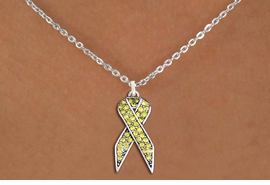 <bR>                  EXCLUSIVELY OURS!! <Br>              AN ALLAN ROBIN DESIGN!! <BR>     CLICK HERE TO SEE 1000+ EXCITING <BR>        CHANGES THAT YOU CAN MAKE! <BR>       LEAD, NICKEL & CADMIUM FREE!! <BR> W1385SN - YELLOW AWARENESS CRYSTAL <BR>     RIBBON CHARM AND NECKLACE <BR>           FROM $5.55 TO $9.00 �2013