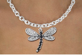 <bR>                   EXCLUSIVELY OURS!! <Br>               AN ALLAN ROBIN DESIGN!! <BR>      CLICK HERE TO SEE 1000+ EXCITING <BR>         CHANGES THAT YOU CAN MAKE! <BR>        LEAD, NICKEL & CADMIUM FREE!! <BR> W1393SN - SILVER TONE AND JET CRYSTAL <BR>    DRAGONFLY CHARM AND NECKLACE <BR>            FROM $5.55 TO $9.00 �2013