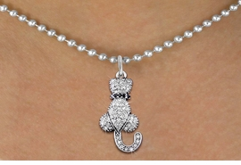 <bR>                   EXCLUSIVELY OURS!! <Br>               AN ALLAN ROBIN DESIGN!! <BR>      CLICK HERE TO SEE 1000+ EXCITING <BR>         CHANGES THAT YOU CAN MAKE! <BR>        LEAD, NICKEL & CADMIUM FREE!! <BR> W1394SN - SILVER TONE AND JET CRYSTAL <BR>    SITTING CAT CHARM AND NECKLACE <BR>            FROM $5.55 TO $9.00 �2013