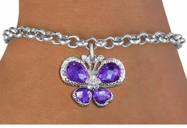 <bR>                 EXCLUSIVELY OURS!! <Br>             AN ALLAN ROBIN DESIGN!! <BR>    CLICK HERE TO SEE 1000+ EXCITING <BR>       CHANGES THAT YOU CAN MAKE!<BR>       LEAD, NICKEL & CADMIUM FREE!! <BR>  W1397SB - SILVER TONE AND PURPLE <BR> CRYSTAL BUTTERFLY CHARM & BRACELET <BR>         FROM $5.40 TO $9.85 �2013