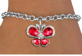 <bR>                 EXCLUSIVELY OURS!! <Br>             AN ALLAN ROBIN DESIGN!! <BR>    CLICK HERE TO SEE 1000+ EXCITING <BR>       CHANGES THAT YOU CAN MAKE!<BR>       LEAD, NICKEL & CADMIUM FREE!! <BR> W1398SB - SILVER TONE AND RUBY RED <BR> CRYSTAL BUTTERFLY CHARM & BRACELET <BR>         FROM $5.15 TO $9.00 �2013