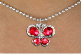 <bR>                    EXCLUSIVELY OURS!! <Br>                AN ALLAN ROBIN DESIGN!! <BR>       CLICK HERE TO SEE 1000+ EXCITING <BR>          CHANGES THAT YOU CAN MAKE! <BR>         LEAD, NICKEL & CADMIUM FREE!! <BR> W1398SN - SILVER TONE AND RUBY RED <BR> CRYSTAL BUTTERFLY CHARM AND NECKLACE <BR>             FROM $5.55 TO $9.00 �2013