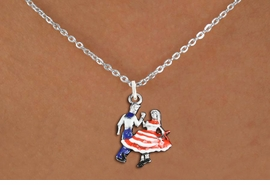 <bR>               EXCLUSIVELY OURS!!<BR>         AN ALLAN ROBIN DESIGN!!<BR>CLICK HERE TO SEE 1000+ EXCITING<BR>   CHANGES THAT YOU CAN MAKE!<BR>                LEAD & NICKEL FREE!! <BR>W1300SN -  SILVER TONE HAND PAINTED <Br>SQUARE DANCE DANCERS CHARM & NECKLACE <BR>      FROM $4.55 TO $8.00 �2012
