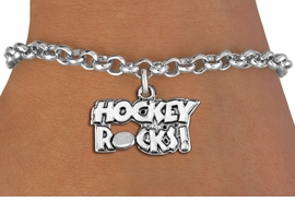 "<bR>                    EXCLUSIVELY OURS!! <BR>               AN ALLAN ROBIN DESIGN!!<BR>      CLICK HERE TO SEE 1000+ EXCITING <BR>         CHANGES THAT YOU CAN MAKE! <BR>                    LEAD & NICKEL FREE!! <BR>           W1378SB - ""HOCKEY ROCKS"" <BR>       SILVER TONE CHARM & BRACELET <Br>             FROM $4.15 TO $8.00 ©2012"