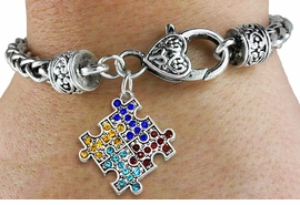 <bR>                   EXCLUSIVELY OURS!!<Br>             AN ALLAN ROBIN DESIGN!!<BR>    CLICK HERE TO SEE 120+ EXCITING<BR>       CHANGES THAT YOU CAN MAKE!<BR>       LEAD, NICKEL & CADMIUM FREE!!<BR>W1127SB - CRYSTAL AUTISM PUZZLE <Br>CHARM & HEART CLASP LINK BRACELET <BR>    FROM $5.63 TO $12.50 �2011