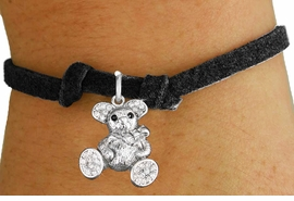 <bR>                   EXCLUSIVELY OURS!!<Br>             AN ALLAN ROBIN DESIGN!!<BR>    CLICK HERE TO SEE 120+ EXCITING<BR>       CHANGES THAT YOU CAN MAKE!<BR>        LEAD, NICKEL & CADMIUM FREE!!<BR>W1189SB - CRYSTAL TEDDY BEAR CHARM <Br>  & CHILDRENS BRACELET FROM $5.40 TO $9.85 �2012