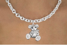 <bR>                      EXCLUSIVELY OURS!!<Br>                AN ALLAN ROBIN DESIGN!!<BR>       CLICK HERE TO SEE 120+ EXCITING<BR>          CHANGES THAT YOU CAN MAKE!<BR>          LEAD, NICKEL & CADMIUM FREE!!<BR>W1189SN - CRYSTAL TEDDY BEAR CHARM<BR> & NECKLACE FROM $5.55 TO $9.00 �2012