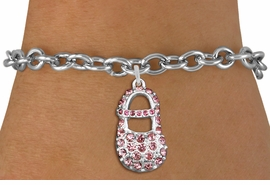 "<bR>               EXCLUSIVELY OURS!!<Br>         AN ALLAN ROBIN DESIGN!! <BR>CLICK HERE TO SEE 120+ EXCITING <BR>   CHANGES THAT YOU CAN MAKE!<BR>   LEAD, NICKEL & CADMIUM FREE!! <BR>     W1276SB - ""GIRL'S BABY SHOE""  <BR> PINK CRYSTAL CHARM & BRACELET <BR>     FROM $5.15 TO $9.00 �2012"