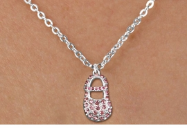 "<bR>                  EXCLUSIVELY OURS!!<Br>            AN ALLAN ROBIN DESIGN!!<BR>   CLICK HERE TO SEE 120+ EXCITING<BR>      CHANGES THAT YOU CAN MAKE!<BR>     LEAD, NICKEL & CADMIUM FREE!!<BR>  W1276SN - ""GIRL'S BABY SHOE"" PINK <BR>CRYSTAL CHARM AND CHILDS NECKLACE <BR>         FROM $5.55 TO $9.00 �2012"