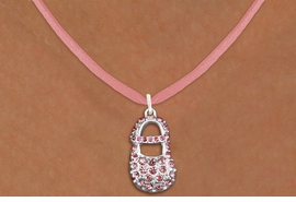 "<bR>                  EXCLUSIVELY OURS!!<Br>            AN ALLAN ROBIN DESIGN!!<BR>   CLICK HERE TO SEE 120+ EXCITING<BR>      CHANGES THAT YOU CAN MAKE!<BR>     LEAD, NICKEL & CADMIUM FREE!!<BR>        W1276SN - ""GIRL'S BABY SHOE"" <BR>PINK CRYSTAL CHARM AND NECKLACE <BR>         FROM $5.55 TO $9.00 �2012"