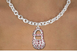 """<bR>                  EXCLUSIVELY OURS!!<Br>            AN ALLAN ROBIN DESIGN!!<BR>   CLICK HERE TO SEE 120+ EXCITING<BR>      CHANGES THAT YOU CAN MAKE!<BR>     LEAD, NICKEL & CADMIUM FREE!!<BR>        W1276SN - """"GIRL'S BABY SHOE"""" <BR>PINK CRYSTAL CHARM AND NECKLACE <BR>         FROM $5.55 TO $9.00 �2012"""