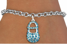 "<bR>               EXCLUSIVELY OURS!!<Br>         AN ALLAN ROBIN DESIGN!! <BR>CLICK HERE TO SEE 120+ EXCITING <BR>   CHANGES THAT YOU CAN MAKE!<BR>   LEAD, NICKEL & CADMIUM FREE!! <BR>      W1277SB - ""BOY'S BABY SHOE""  <BR> BLUE CRYSTAL CHARM & BRACELET <BR>     FROM $5.15 TO $9.00 �2012"