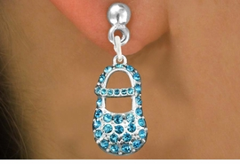 "<bR>                 EXCLUSIVELY OURS!!<Br>           AN ALLAN ROBIN DESIGN!!<BR>  CLICK HERE TO SEE 120+ EXCITING<BR>     CHANGES THAT YOU CAN MAKE!<BR>     LEAD, NICKEL & CADMIUM FREE!!<BR>     W1277SE - ""BOY'S BABY SHOE"" <BR>   BLUE CRYSTAL CHARM EARRINGS <BR>       FROM $4.95 TO $10.00 �2012"