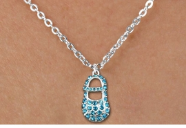 "<bR>                  EXCLUSIVELY OURS!!<Br>            AN ALLAN ROBIN DESIGN!!<BR>   CLICK HERE TO SEE 120+ EXCITING<BR>      CHANGES THAT YOU CAN MAKE!<BR>     LEAD, NICKEL & CADMIUM FREE!!<BR>        W1277SN - ""BOY'S BABY SHOE"" BLUE <BR>CRYSTAL CHARM AND CHILDS NECKLACE <BR>         FROM $5.55 TO $9.00 �2012"