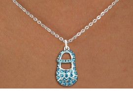 "<bR>                  EXCLUSIVELY OURS!!<Br>            AN ALLAN ROBIN DESIGN!!<BR>   CLICK HERE TO SEE 120+ EXCITING<BR>      CHANGES THAT YOU CAN MAKE!<BR>     LEAD, NICKEL & CADMIUM FREE!!<BR>        W1277SN - ""BOY'S BABY SHOE"" <BR>BLUE CRYSTAL CHARM AND NECKLACE <BR>         FROM $5.55 TO $9.00 �2012"