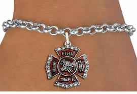 <bR>               EXCLUSIVELY OURS!!<Br>         AN ALLAN ROBIN DESIGN!! <BR>CLICK HERE TO SEE 120+ EXCITING <BR>   CHANGES THAT YOU CAN MAKE!<BR>   LEAD, NICKEL & CADMIUM FREE!! <BR> W1284SB - FIRE DEPARTMENT SHIELD <BR>     CRYSTAL CHARM & BRACELET <BR>     FROM $5.40 TO $9.85 �2012