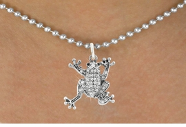<bR>                      EXCLUSIVELY OURS!!<Br>                AN ALLAN ROBIN DESIGN!!<BR>       CLICK HERE TO SEE 120+ EXCITING<BR>          CHANGES THAT YOU CAN MAKE!<BR>                     LEAD & NICKEL FREE!!<BR>W1075SN - PAVE CRYSTAL FROG CHARM &<BR>  NECKLACE FROM $5.55 TO $9.00 �2011