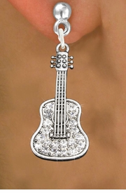 <bR>                   EXCLUSIVELY OURS!!<Br>             AN ALLAN ROBIN DESIGN!!<BR>    CLICK HERE TO SEE 120+ EXCITING<BR>       CHANGES THAT YOU CAN MAKE!<BR>                  LEAD & NICKEL FREE!!<BR>W1169SE - CRYSTAL  ACOUSTIC GUITAR CHARM<BR> EARRINGS FROM $4.95 TO $10.00 �2012