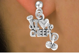 "<bR>               EXCLUSIVELY OURS!!<Br>         AN ALLAN ROBIN DESIGN!!<BR> CLICK HERE TO SEE 120+ EXCITING<BR>    CHANGES THAT YOU CAN MAKE!<BR>              LEAD & NICKEL FREE!!<BR>       W623SE - ""I LOVE TO CHEER""<Br>      & EARRINGS FROM $3.25 TO $8.00"