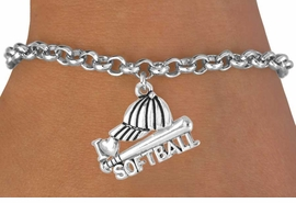 "<bR>               EXCLUSIVELY OURS!!<Br>         AN ALLAN ROBIN DESIGN!!<BR>CLICK HERE TO SEE 120+ EXCITING<BR>   CHANGES THAT YOU CAN MAKE!<BR>              LEAD & NICKEL FREE!!<BR>     W647SB - ""I LOVE SOFTBALL""<Br>      & BRACELET AS LOW AS $3.65"