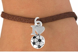 "<bR>               EXCLUSIVELY OURS!!<Br>         AN ALLAN ROBIN DESIGN!!<BR>CLICK HERE TO SEE 120+ EXCITING<BR>   CHANGES THAT YOU CAN MAKE!<BR>              LEAD & NICKEL FREE!!<BR>        W654SB - ""I LOVE SOCCER""<Br>      & BRACELET FROM $3.65 TO $7.50"