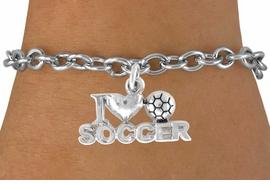"<bR>               EXCLUSIVELY OURS!!<Br>         AN ALLAN ROBIN DESIGN!!<BR>CLICK HERE TO SEE 120+ EXCITING<BR>   CHANGES THAT YOU CAN MAKE!<BR>              LEAD & NICKEL FREE!!<BR>        W656SB - ""I LOVE SOCCER""<Br>      & BRACELET AS LOW AS $3.65"