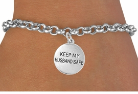 "<bR>                    EXCLUSIVELY OURS!!<Br>              AN ALLAN ROBIN DESIGN!!<BR>     CLICK HERE TO SEE 120+ EXCITING<BR>        CHANGES THAT YOU CAN MAKE!<BR>                  LEAD & NICKEL FREE!!<BR>W663SB -  ""KEEP MY HUSBAND SAFE""<Br>DISC & BRACELET FROM $3.65 TO $7.50"