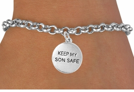 "<bR>               EXCLUSIVELY OURS!!<Br>         AN ALLAN ROBIN DESIGN!!<BR>CLICK HERE TO SEE 120+ EXCITING<BR>   CHANGES THAT YOU CAN MAKE!<BR>              LEAD & NICKEL FREE!!<BR>  W664SB -  ""KEEP MY SON SAFE""<Br>            DISC & BRACELET FROM<bR>                      $4.50 TO $8.35"