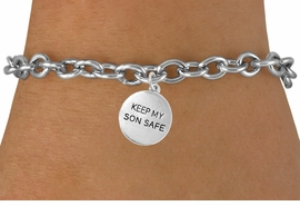 "<bR>               EXCLUSIVELY OURS!!<Br>         AN ALLAN ROBIN DESIGN!!<BR>CLICK HERE TO SEE 120+ EXCITING<BR>   CHANGES THAT YOU CAN MAKE!<BR>              LEAD & NICKEL FREE!!<BR>  W664SB -  ""KEEP MY SON SAFE""<Br>            DISC & BRACELET FROM<bR>                      $3.65 TO $7.50"