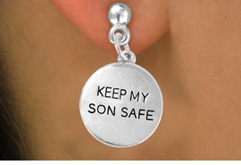 "<bR>                 EXCLUSIVELY OURS!!<Br>          AN ALLAN ROBIN DESIGN!!<BR>CLICK HERE TO SEE 120+ EXCITING<BR>   CHANGES THAT YOU CAN MAKE!<BR>              LEAD & NICKEL FREE!!<BR>  W664SE -  ""KEEP MY SON SAFE""<br>             DISC & EARRING FROM<bR>                      $3.25 TO $8.00"