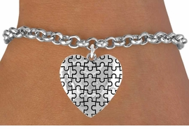 <bR>               EXCLUSIVELY OURS!!<Br>         AN ALLAN ROBIN DESIGN!!<BR>CLICK HERE TO SEE 120+ EXCITING<BR>   CHANGES THAT YOU CAN MAKE!<BR>              LEAD & NICKEL FREE!!<BR>        W665SB -  PUFFED AUTISM<Br> AWARENESS PUZZLE PIECE HEART<bR>          & BRACELET FROM ©2010<bR>                       $4.50 TO $8.35