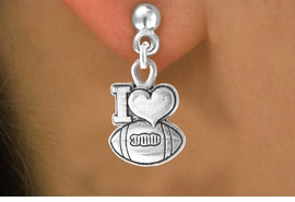 "<bR>                EXCLUSIVELY OURS!!<Br>         AN ALLAN ROBIN DESIGN!!<BR>CLICK HERE TO SEE 120+ EXCITING<BR>  CHANGES THAT YOU CAN MAKE!<BR>              LEAD & NICKEL FREE!!<BR>  W679SE - ""I LOVE FOOTBALL"" &<BR>  EARRINGS FROM $4.50 TO $8.35"