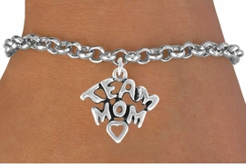 "<bR>               EXCLUSIVELY OURS!!<Br>         AN ALLAN ROBIN DESIGN!!<BR>CLICK HERE TO SEE 120+ EXCITING<BR>   CHANGES THAT YOU CAN MAKE!<BR>              LEAD & NICKEL FREE!!<BR>  W682SB - ""TEAM MOM"" CHARM<Br>   BRACELET FROM $3.65 TO $7.50"