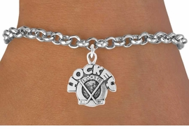 "<bR>               EXCLUSIVELY OURS!!<Br>         AN ALLAN ROBIN DESIGN!!<BR>CLICK HERE TO SEE 120+ EXCITING<BR>   CHANGES THAT YOU CAN MAKE!<BR>              LEAD & NICKEL FREE!!<BR>    W708SB - ""HOCKEY ROCKS"" &<Br>   BRACELET FROM $3.65 TO $7.50"