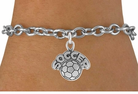"<bR>                 EXCLUSIVELY OURS!!<Br>           AN ALLAN ROBIN DESIGN!!<BR>  CLICK HERE TO SEE 120+ EXCITING<BR>     CHANGES THAT YOU CAN MAKE!<BR>                LEAD & NICKEL FREE!!<BR>         W734SB - ""SOCCER"" & BALL<Br>      BRACELET FROM $3.65 TO $7.50"