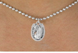 <bR>               EXCLUSIVELY OURS!!<Br>         AN ALLAN ROBIN DESIGN!!<BR>CLICK HERE TO SEE 120+ EXCITING<BR>   CHANGES THAT YOU CAN MAKE!<BR>               LEAD & NICKEL FREE!!<BR>  W802SN - HORSESHOE & HORSE<Br>   NECKLACE FROM $4.05 TO $7.50