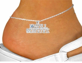 "<bR>               EXCLUSIVELY OURS!!<Br>         AN ALLAN ROBIN DESIGN!!<BR>CLICK HERE TO SEE 120+ EXCITING<BR>   CHANGES THAT YOU CAN MAKE!<BR>               LEAD & NICKEL FREE!!<BR>W822SAK - ""I WILL SURVIVE"" TEAL<Br>      AWARENESS RIBBON ANKLET<Br>               FROM $2.85 TO $7.50"