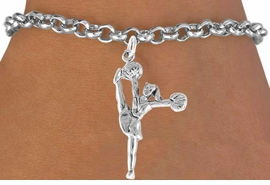 "<bR>                  EXCLUSIVELY OURS!!<Br>            AN ALLAN ROBIN DESIGN!!<BR>   CLICK HERE TO SEE 120+ EXCITING<BR>      CHANGES THAT YOU CAN MAKE!<BR>                 LEAD & NICKEL FREE!!<BR>W833SB - ""HIGH-KICK CHEERLEADER""<Br>       BRACELET FROM $3.65 TO $7.50"