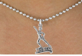 "<bR>               EXCLUSIVELY OURS!!<Br>         AN ALLAN ROBIN DESIGN!!<BR>CLICK HERE TO SEE 120+ EXCITING<BR>   CHANGES THAT YOU CAN MAKE!<BR>              LEAD & NICKEL FREE!!<BR>       W834SN - ""DANCE"" CHARM<Br>   NECKLACE FROM $4.05 TO $7.50"