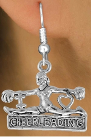 "<bR>                  EXCLUSIVELY OURS!!<Br>            AN ALLAN ROBIN DESIGN!!<BR>   CLICK HERE TO SEE 120+ EXCITING<BR>      CHANGES THAT YOU CAN MAKE!<BR>                 LEAD & NICKEL FREE!!<BR> W837SE - ""I LOVE CHEERLEADING"" CHARM<Br>             EARRINGS FROM $3.25 TO $8.00"
