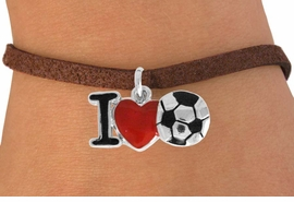 "<bR>               EXCLUSIVELY OURS!!<BR>         AN ALLAN ROBIN DESIGN!!<BR>CLICK HERE TO SEE 120+ EXCITING<BR>   CHANGES THAT YOU CAN MAKE!<BR>              LEAD & NICKEL FREE!!<BR>        W840SB - ""I LOVE SOCCER""<Br>  BRACELET FROM $4.50 TO $8.35<BR>                              ©2011"