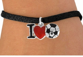 "<bR>               EXCLUSIVELY OURS!!<BR>         AN ALLAN ROBIN DESIGN!!<BR>CLICK HERE TO SEE 120+ EXCITING<BR>   CHANGES THAT YOU CAN MAKE!<BR>              LEAD & NICKEL FREE!!<BR>        W840SB - ""I LOVE SOCCER""<Br>  BRACELET FROM $4.50 TO $8.35 ©2011"