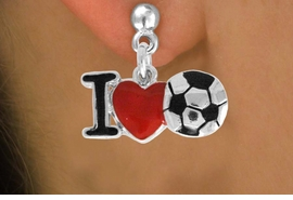 "<bR>               EXCLUSIVELY OURS!!<BR>         AN ALLAN ROBIN DESIGN!!<BR>CLICK HERE TO SEE 120+ EXCITING<BR>   CHANGES THAT YOU CAN MAKE!<BR>              LEAD & NICKEL FREE!!<BR>        W840SE - ""I LOVE SOCCER""<Br>  EARRINGS FROM $3.85 TO $7.50<BR>                              ©2011"